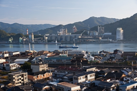 View of industrial port channel in Susaki - Japan photo