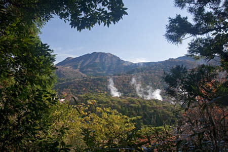 View of the Japanese geothermal spa - Unzen on the island Kyusiu