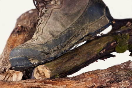Worn and dirty high-altitude trekking boots Stock Photo