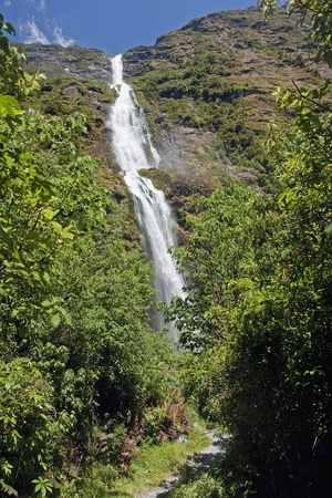 View of the beautiful and the largest waterfall in New Zealand Sutherland Falls photo
