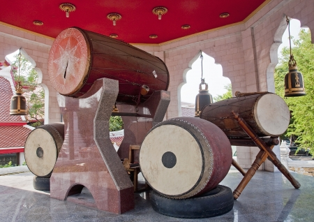 chinese drum: Traditional big drums in a Buddhist temple Stock Photo