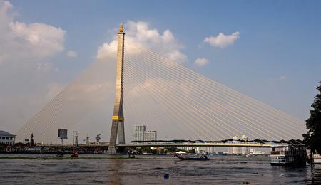 viii: Rama VIII Bridge  Cable-stayed bridge crossing the Chao Phraya River in Bangkok - Thailand Stock Photo