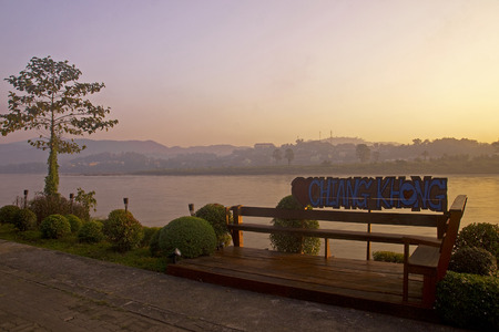 Sunrise over the river in Chiang Khong - Thailand