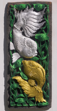 crucian carp: Relief depicting fish adorned the walls  Stock Photo