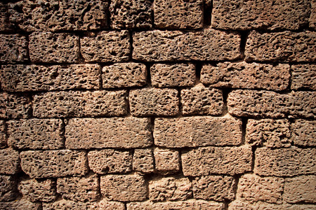 Wall made of bricks made ​​of lava