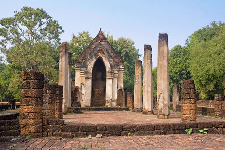 The old religious buildings in the Historical Park in Si Satchanalai - Chaliang  Thailand  photo