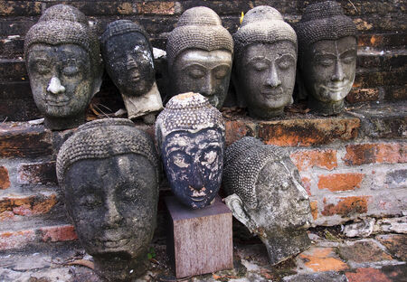 Head of old Buddha statues in Ayutthaya - Thailand Stock Photo