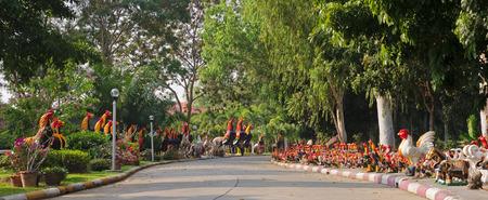 Cock statues in Wat Yai Chaimongkol - Ayutthaya, Thailand