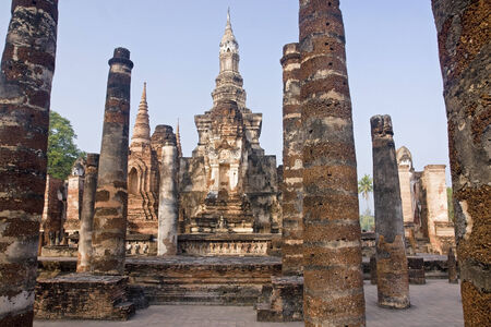 Ancient buildings temple in Old Sukhothai Stock Photo