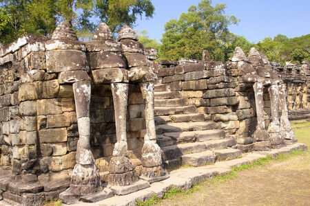 Fragment of Elephant Terrace in Angkor Thom - Cambodia photo