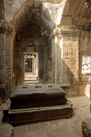 Corridor in an old Khmer temple - Cambodia photo