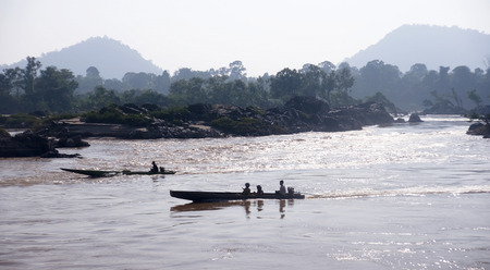 Boats on the Mekong River in the vicinity of Don Khon - Laos photo
