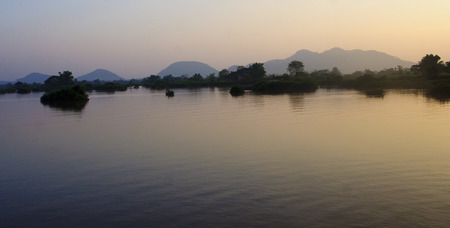 View of the Mekong River at sunset - Don Det  Laos  photo