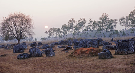 Sunset in Plain of Jars, Phonsavan  - Laos Stock Photo
