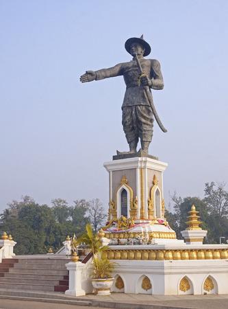Statue Quai Fa Ngum in Vientiane - Laos Editorial