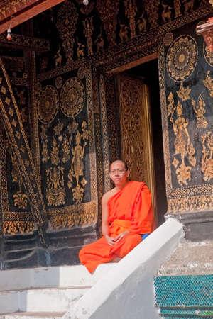 Monk at Wat Xieng Thong in Luang Prabang - Laos Editorial