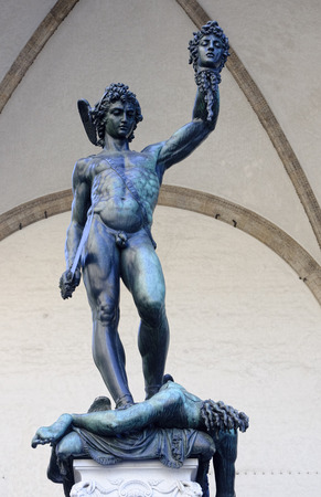 Perseus killed Medusa statue on Piazza della Signoria in Florence - Italy Stock Photo