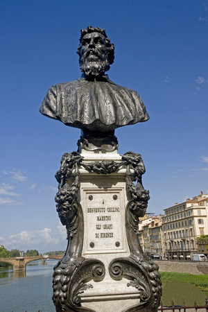 Statue of Benvenuto Cellini, Ponte Vechio Bridge, Florence - Italy Editorial