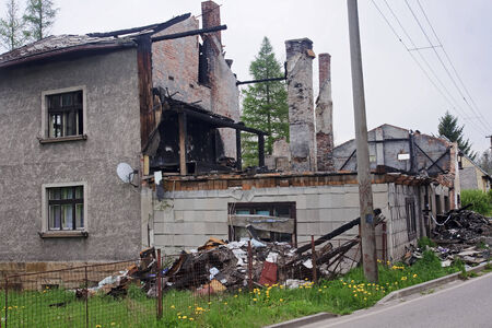 ruined house: House ruin after big fire