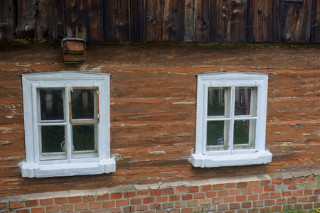 Window of old wooden rural house Stock Photo