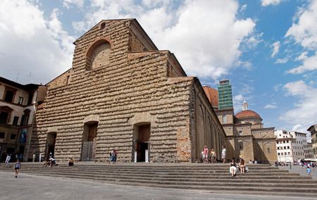 Tourists visiting Church of San Lorenzo in Florence - Italy