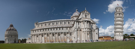 Tourists visiting the leaning tower in Pisa - Italy