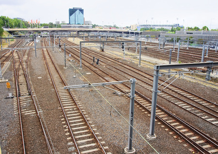 afl: View of a large railway junction in the center of Melbourne