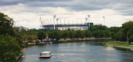 Yarra river and cricket ground in center Melbourne Stock Photo