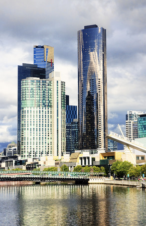 Yara River in Melbourne - view of the city center