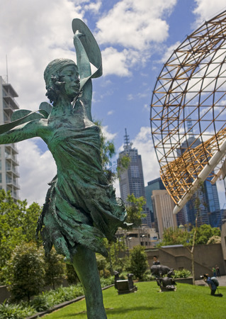 afl: One of the monuments located in the city center of Melbourne Editorial