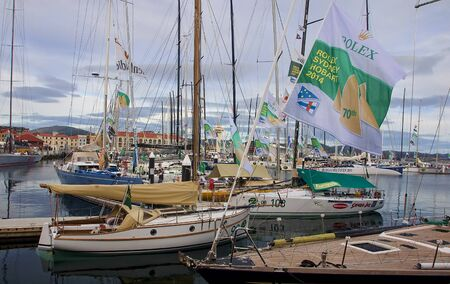HOBART, AUSTRALIA - DECEMBER 31, 2014: View of the port on 31 December 2014 in Hobart, Australia. The harbor hosts a many of events - Sydney-Hobart race Editorial