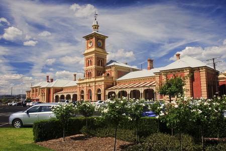 The old historic railway station in Albury - Australia Stock Photo