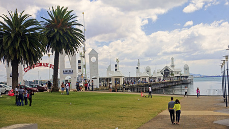 GEELONG, AUSTRALIA - DECEMBER 25, 2014: Australians are resting in Geelong on 25 December 2014 in Geelong, Australia. Geelong is a coastal village where residents like to spend weekends Melbourn Editorial
