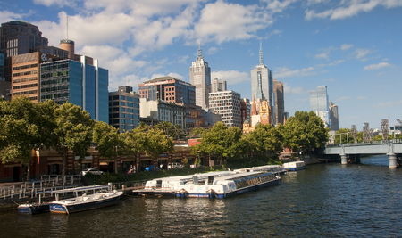 MELBOURNE, AUSTRALIA - DECEMBER 30, 2014: Yara River runs through the center of the city on 30 December 2014 in Melbourne, Australia. Yara River is a favorite place for tours of boats