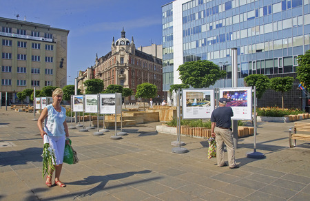 KATOWICE, POLAND - JULY 19, 2015: The main square in the city center on 19 July 2015 in Katowice, Poland. Renovated main square in Katowice is the venue for exhibitions and walks