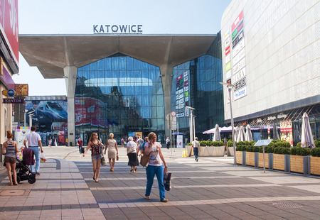 KATOWICE, POLAND - JULY 19, 2015: New railway station in Katowice on 19 July 2015 in Katowice, Poland. New renovated train station in the center of Katowice