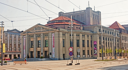 KATOWICE, POLAND - JULY 19, 2015: Stanislaw Wyspianski Theatre on 19 July 2015 in Katowice, Poland. The theater is located in the center of town and it is a historical site