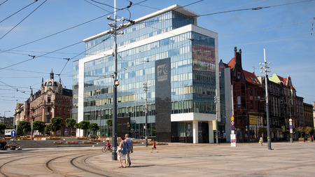 former years: KATOWICE, POLAND - JULY 19, 2015: New City Hall in Katowice on 19 July 2015 in Katowice, Poland. New renovated City Hall is located in the city center