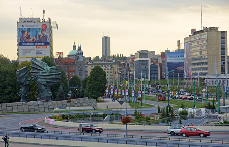 agglomeration: KATOWICE, POLAND - SEPTEMBER 18, 2015: View of downtown on 18 September 2015 in Katowice, The city center is the hub of the whole Silesian agglomeration Editorial