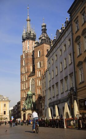 2 november: KRAKOW, POLAND - NOVEMBER 2, 2015: The historic Mariacka Cathedral on 2 November 2015 in Krakow, Poland. Mariacka Cathedral is one of the flagships of the city and is located on the main square