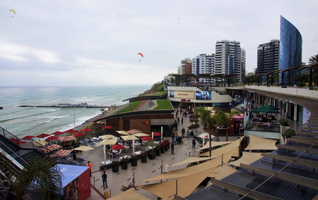 miraflores district: LIMA, PERU - NOVEMBER 4, 2015: Shopping complex in the district of Miraflores on 4 November 2015 in Lima, Peru. It is a place frequented by tourists and locals in Lima
