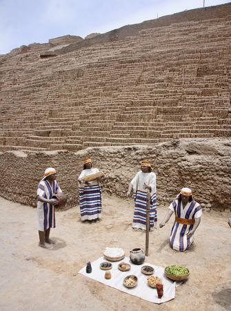 republic of peru: LIMA, PERU - NOVEMBER 4, 2015: Old buildings of adobe bricks in  Pucllana on 4 November 2015 in Lima, Peru. The Huaca Pucllana is a great adobe and clay pyramid located in Lima