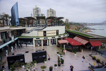 frequented: LIMA, PERU - NOVEMBER 4, 2015: Shopping complex in the district of Miraflores on 4 November 2015 in Lima, Peru. It is a place frequented by tourists and locals in Lima