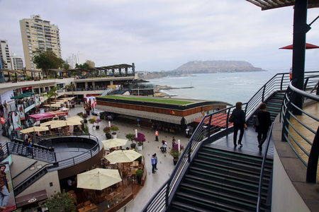 LIMA, PERU - NOVEMBER 4, 2015: Shopping complex in the district of Miraflores on 4 November 2015 in Lima, Peru. It is a place frequented by tourists and locals in Lima