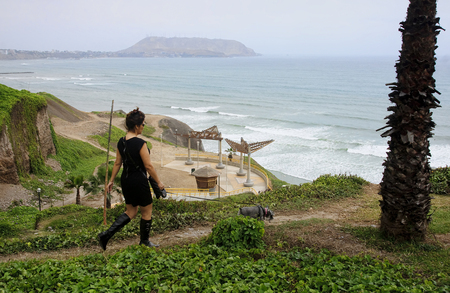 miraflores district: LIMA, PERU - NOVEMBER 4, 2015: Park in Miraflores in the old town on 4 November 2015 in Lima, Peru.A popular place for walks and rest in metropolitan Lima