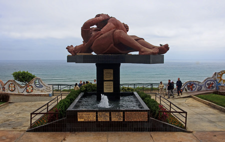 miraflores district: LIMA, PERU - NOVEMBER 4, 2015: El Parque del Amor in Miraflores district on 4 November 2015 in Lima, Peru. Love Park is a great place to walk and relax in Lima Editorial