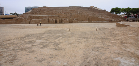 republic of peru: The Huaca Pucllana is a great adobe and clay pyramid located in Lima Stock Photo