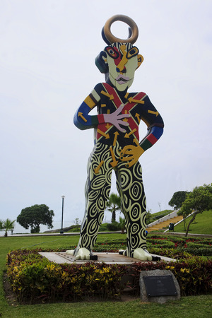 miraflores district: One of statues in a park in Lima  - Miraflores district Editorial