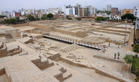 adobe: The Huaca Pucllana is a great adobe and clay pyramid located in Lima Stock Photo