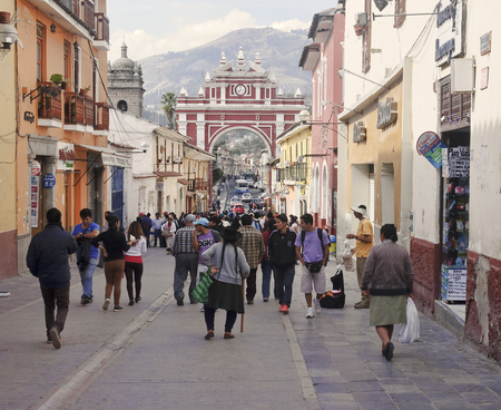 AYACUCHO, PERU - NOVEMBER 6, 2015: Arco del Triunfo on 6 November 2015 in Ayacucho, Peru. The Arc de Triomphe symbolizes the victory of the battle of May 2, 1886 against the Spaniards. Editorial